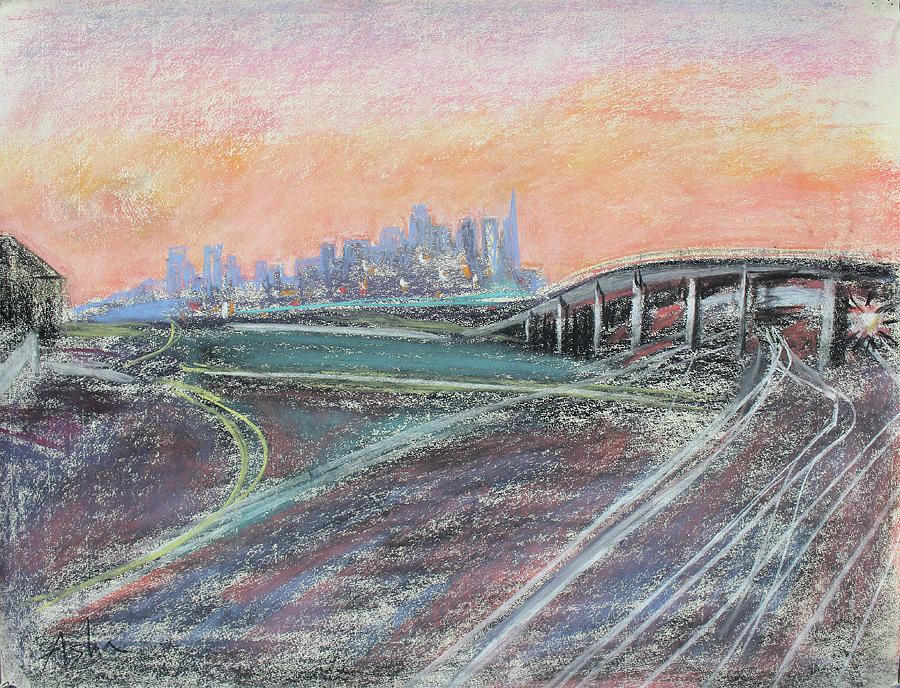Industrial Pastel Painting; Urban Pastel Painting; Asha Carolyn Young Painting; Train Coming; West Oakland Painting - Train Coming At Sunset In West Oakland by Asha Carolyn Young