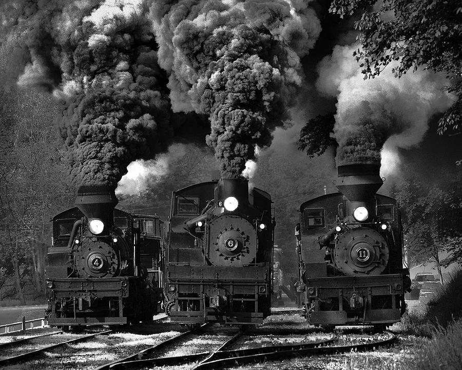 Steam Photograph - Train Race In Bw by Chuck Gordon