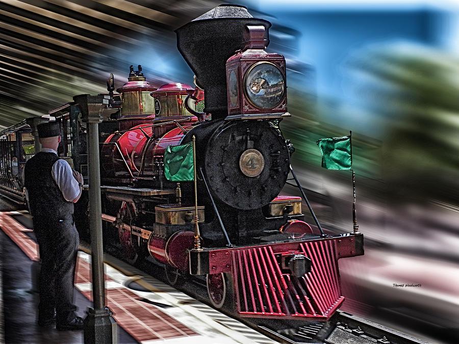 Disney Photograph - Train Ride Magic Kingdom by Thomas Woolworth