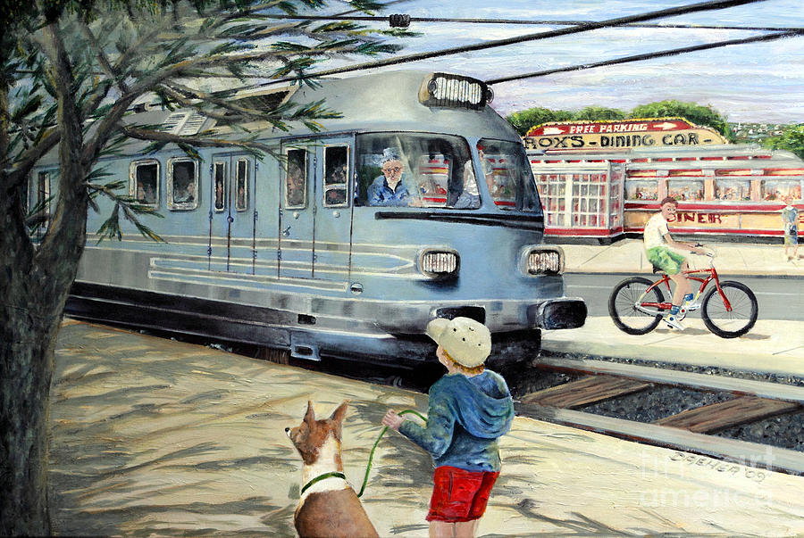 Train Painting - Train Stop At The Diner by Chris Dreher
