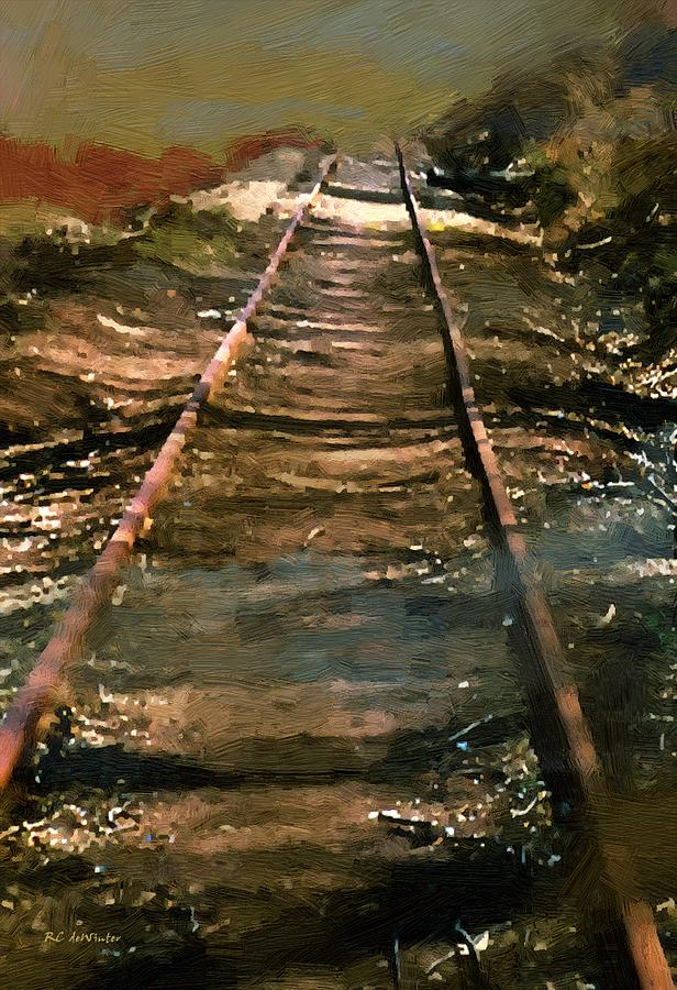 Tracks Painting - Train Track To Hell by RC deWinter