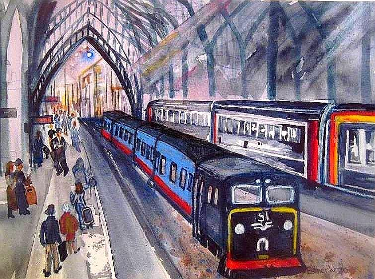 Train Station Painting - Train Train Train by Esther Woods