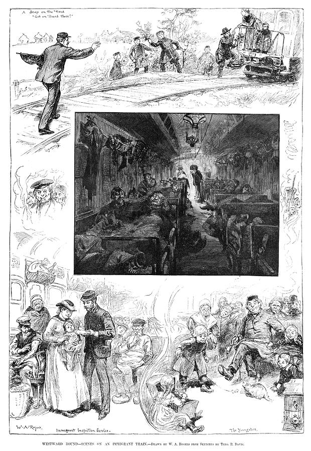 1883 Drawing - Train Travel, 1883 by Granger