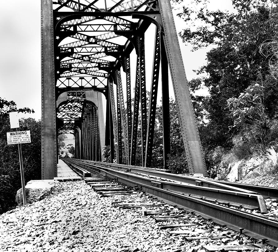 Train Photograph - Train Trestle In B/w by Edward Hamilton