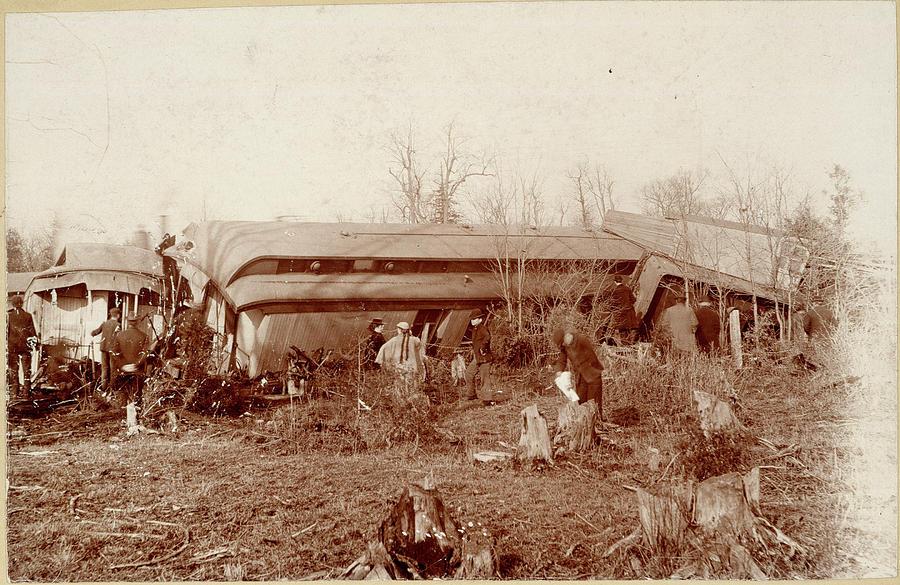1890 Photograph - Train Wreck, 1890s by Granger