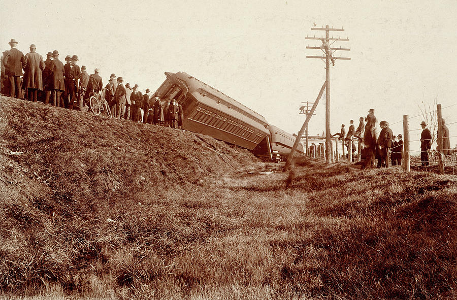 1890 Photograph - Train Wreck, C1900 by Granger