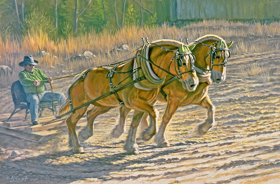Horse Painting - Training For The Pull  by Paul Krapf