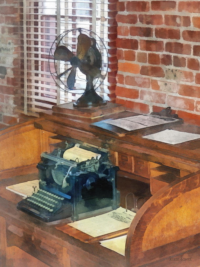 Typewriter Photograph - Trains - Station Masters Office by Susan Savad