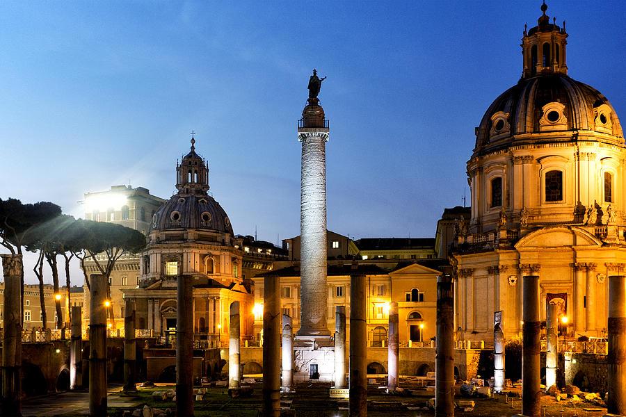 Rome Photograph - Trajans Column by Fabrizio Troiani
