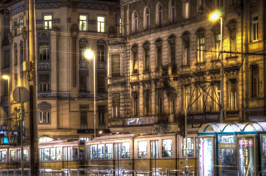 Street Digital Art - Tram Night by Nathan Wright
