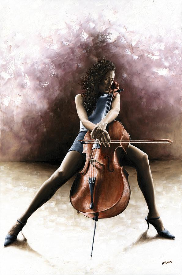 Tranquil Cellist Painting