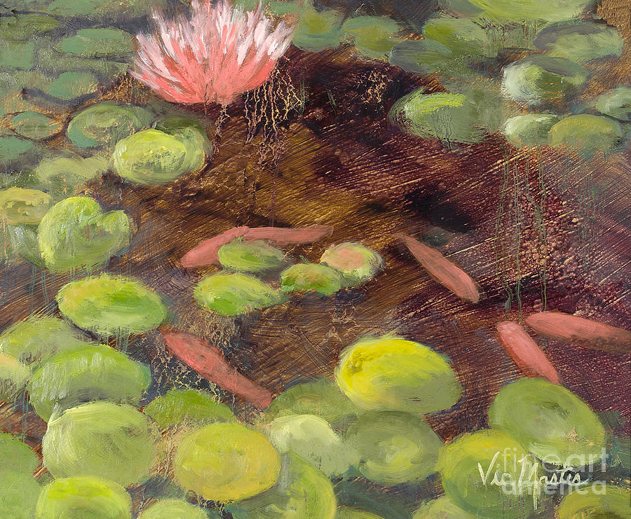 Lily Pad Painting - Tranquil Moments-rectangle With Gold Leaf By Vic Mastis by Vic  Mastis