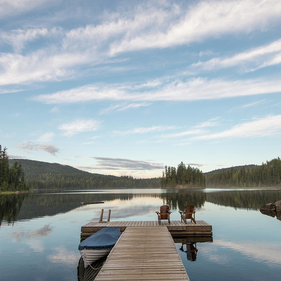 Tranquil Scene With Lake Pier And Photograph by Ascent Xmedia