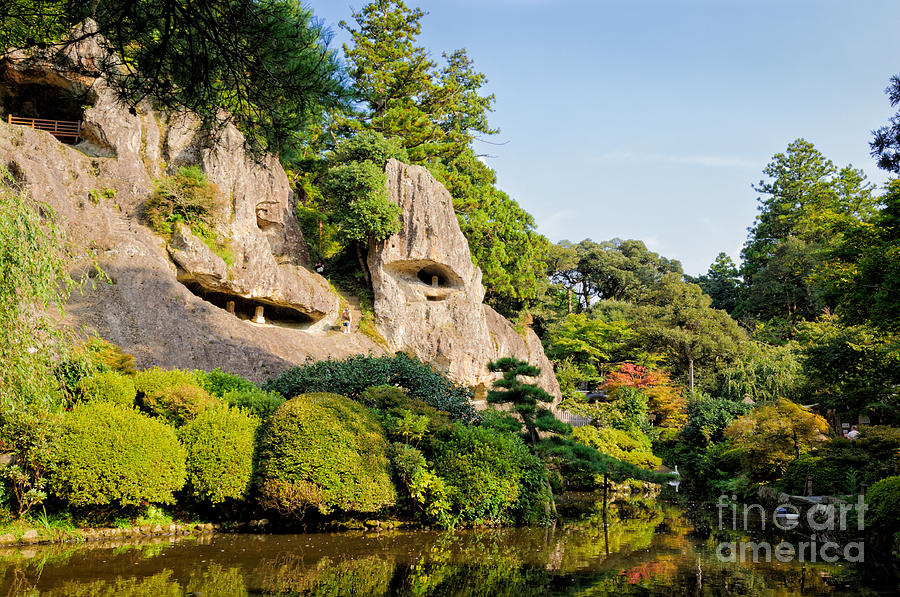 Japanese Photograph - Tranquil Temple - Pond And Cliffside Caves by David Hill