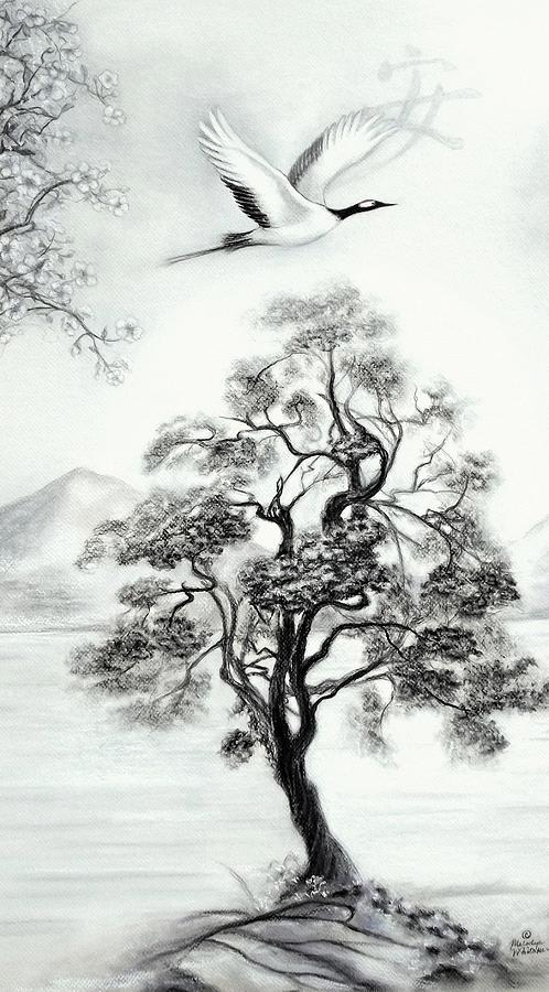 Oriental Landscape Drawing - Tranquility II by Melodye Whitaker