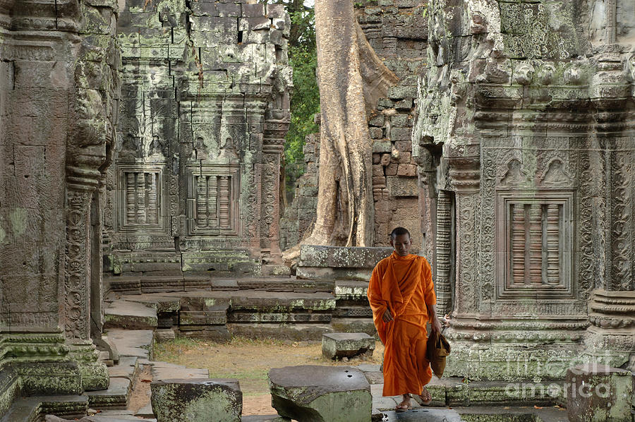 Travel Photograph - Tranquility In Angkor Wat Cambodia by Bob Christopher