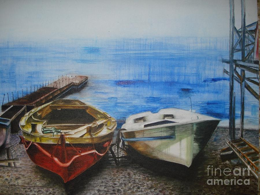 Landscape Painting - Tranquility Till Tide From The Farewell Songs by Prasenjit Dhar