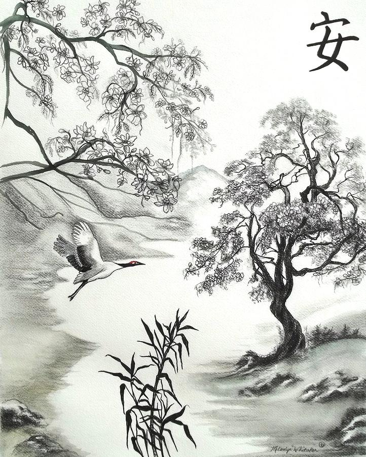 Drawing Drawing - Tranquility W Kona Moringa by Melodye Whitaker