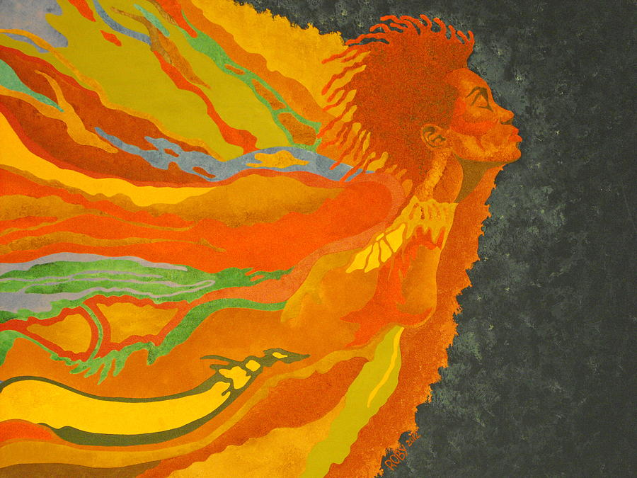 Colorful African American Female Image In Flight Painting - Transitions by William Roby
