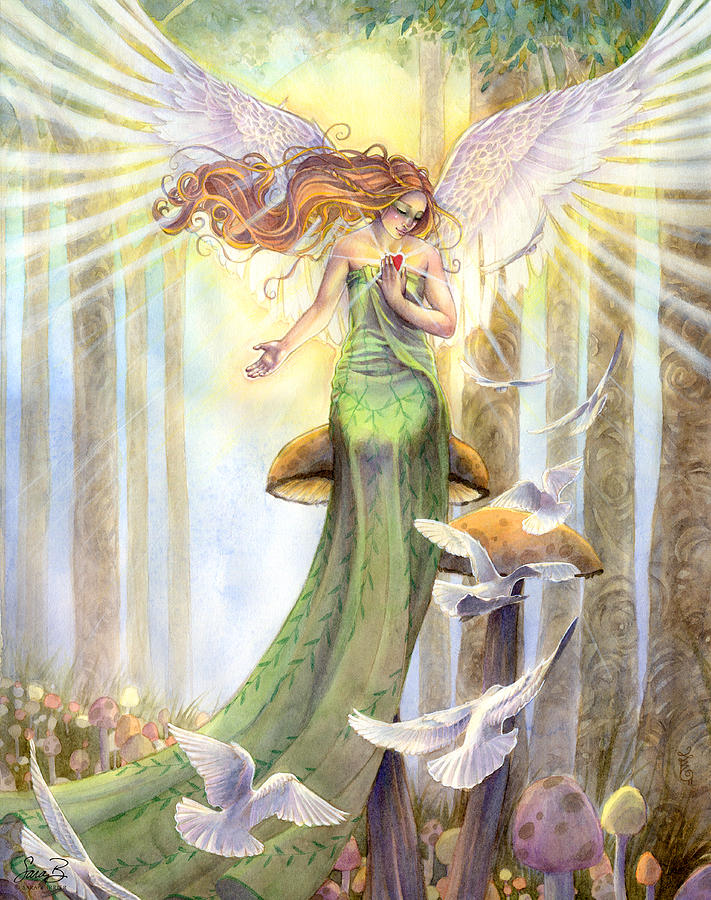 Angel Painting - Translucence  by Sara Burrier