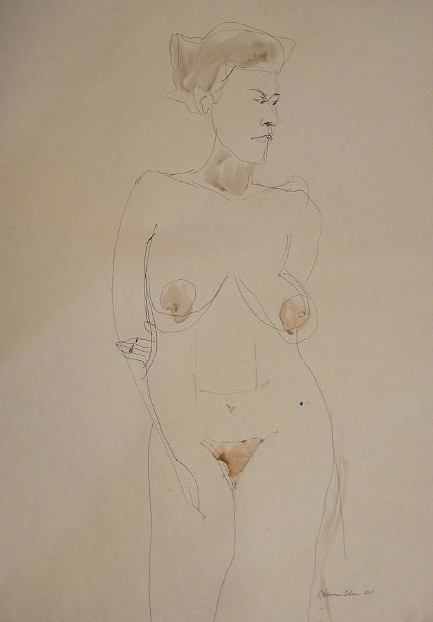 Transparent Nude Drawing - Transparent Nude by Esther Newman-Cohen