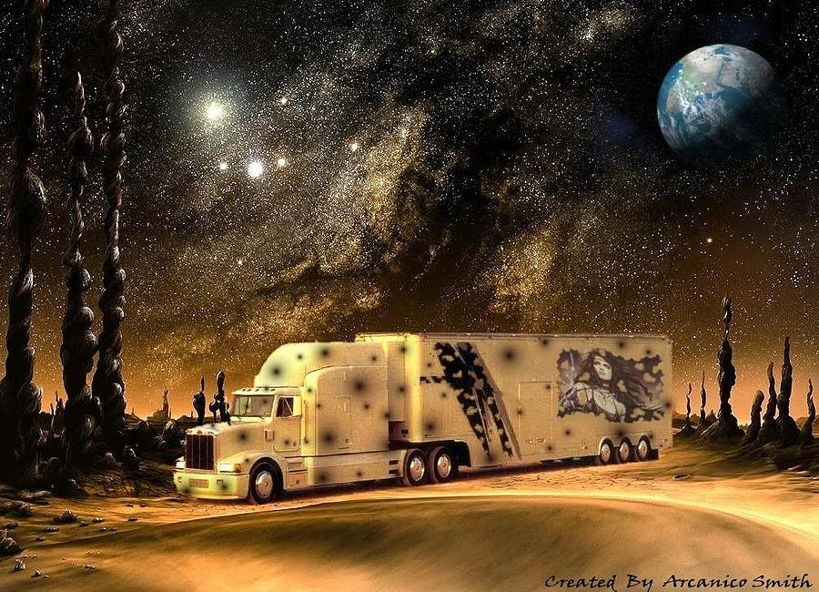 Trucks Digital Art - transport Planetary by Arcanico Luca Smith Acquaviva