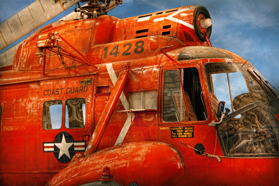 Savad Photograph - Transportation - Helicopter - Coast Guard Helicopter by Mike Savad