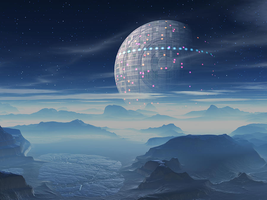 Tranus Alien Planet with Satellite Digital Art by Judi ...