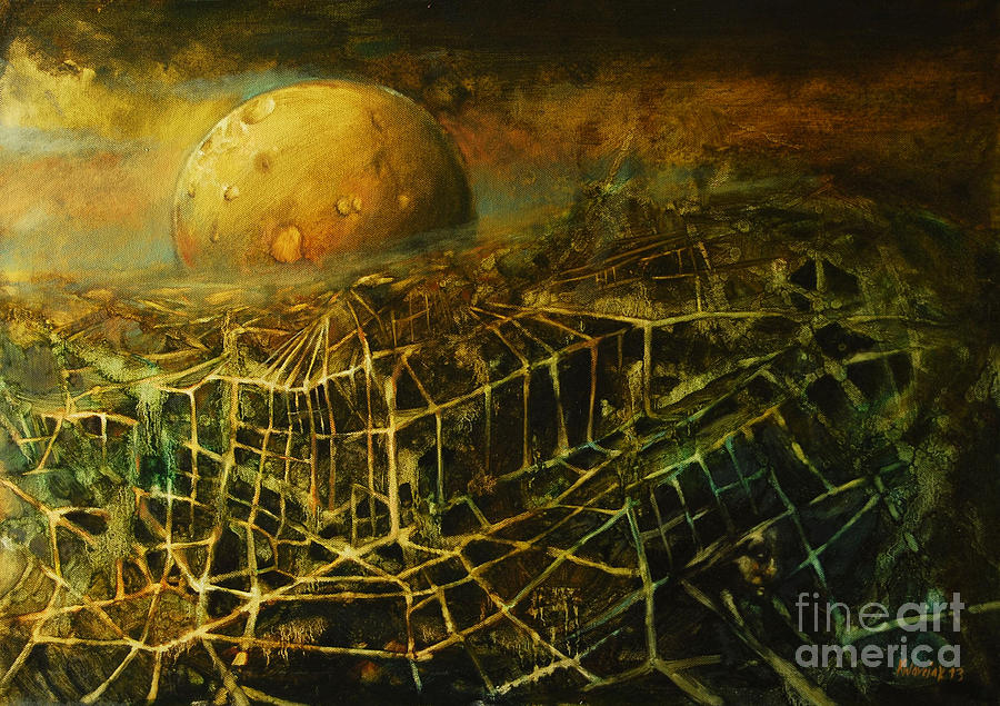 Moon Painting - Trapped By The Moon by Michal Kwarciak