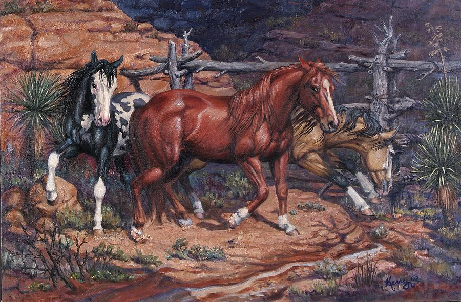 Horses Painting - Trapped by Kerry Nelson