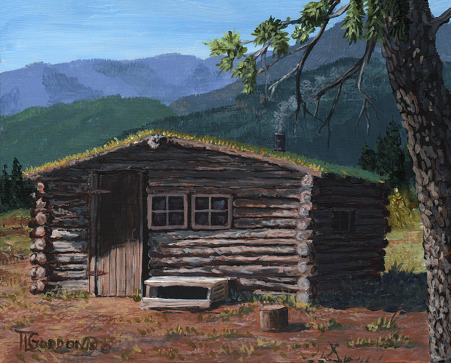 Trapper Cabin Painting by Timithy L Gordon