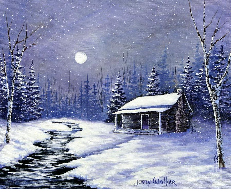 Landscape Painting - Trappers Cabin by Jerry Walker