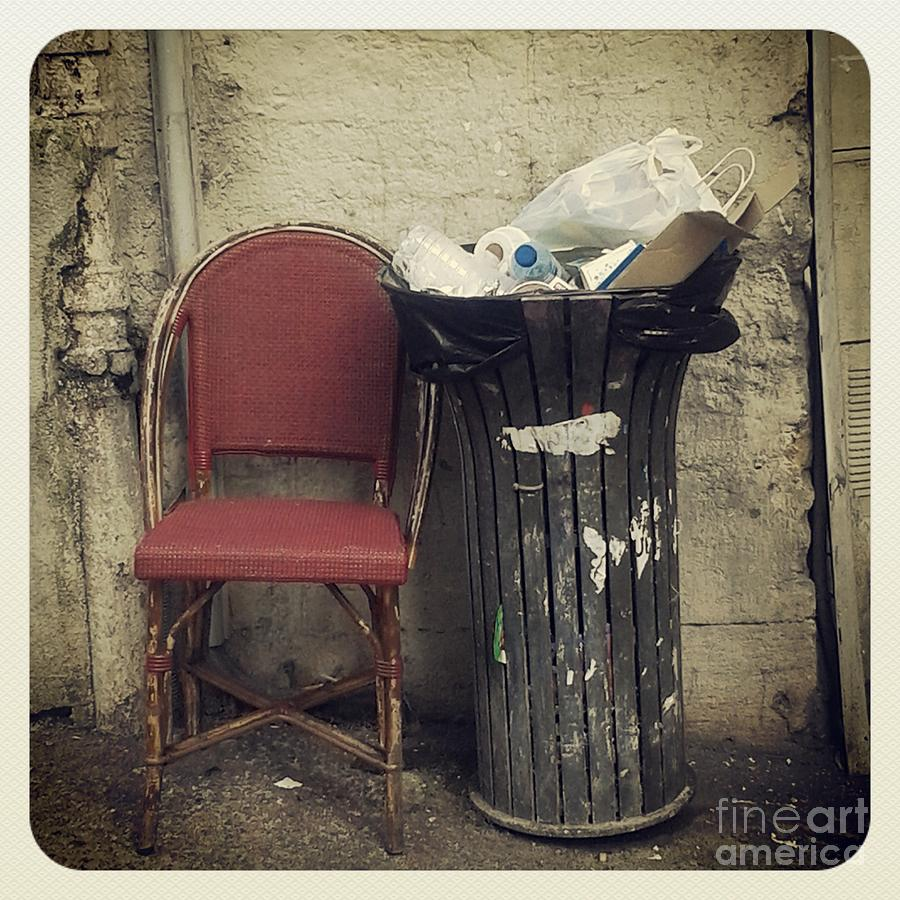 Buy Art Online Photograph - Trash And Chair Asking Please Take Me Home by Victoria Herrera