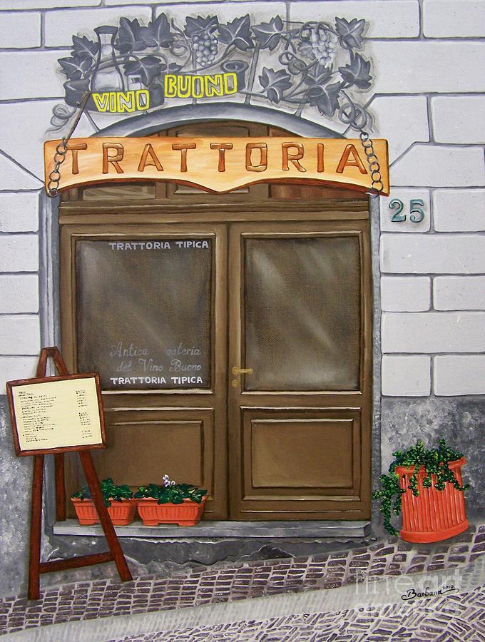 Italy Painting - Trattoria Del Vino Buono by Barbara Pelizzoli