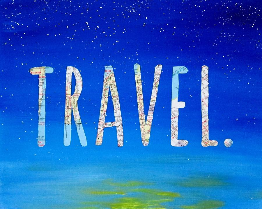 Travel Quote Map Art 8x10 Painting By Michelle Eshleman