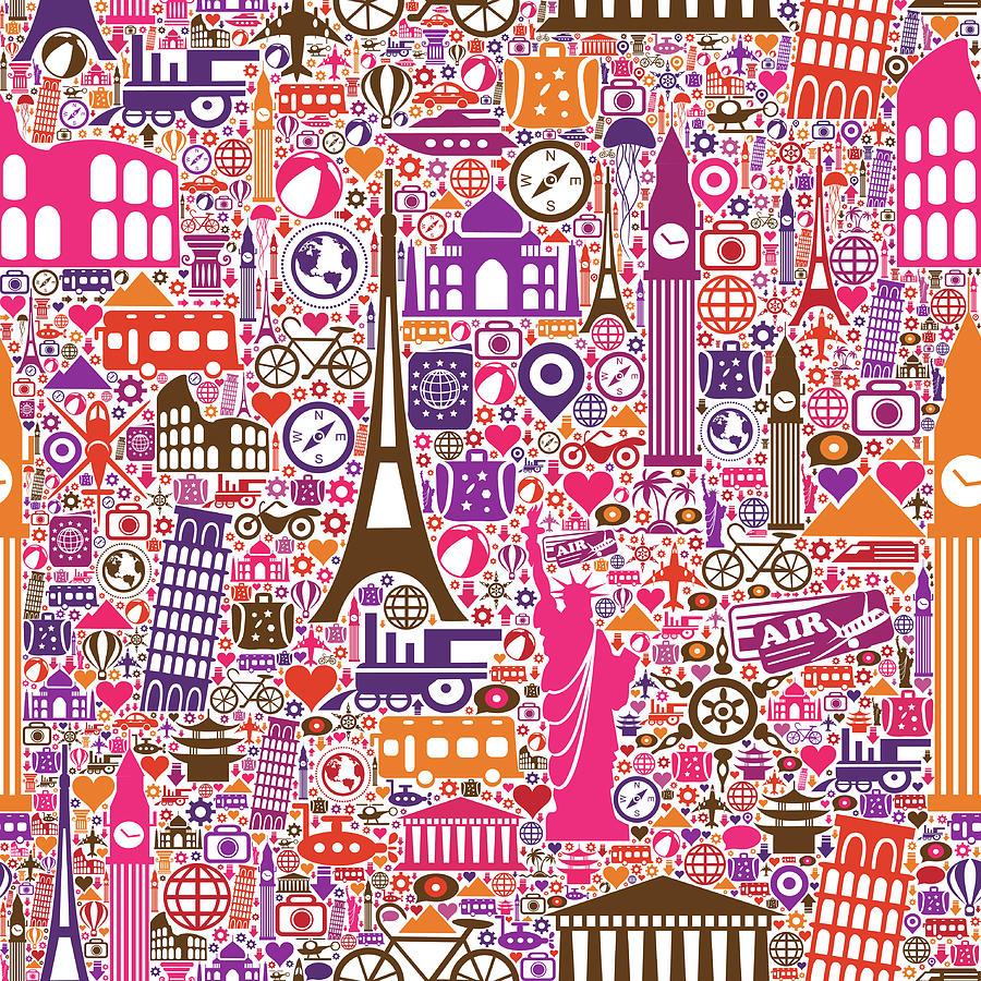 Travel Seamless Pattern Digital Art by Liana Monica Bordei