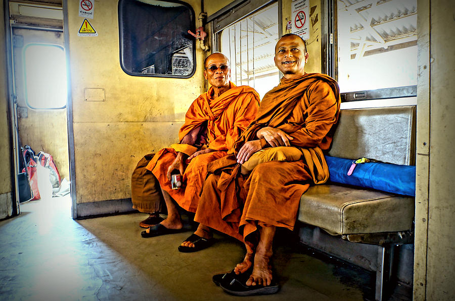 Street Photograph - Traveling Monks by Ian Gledhill