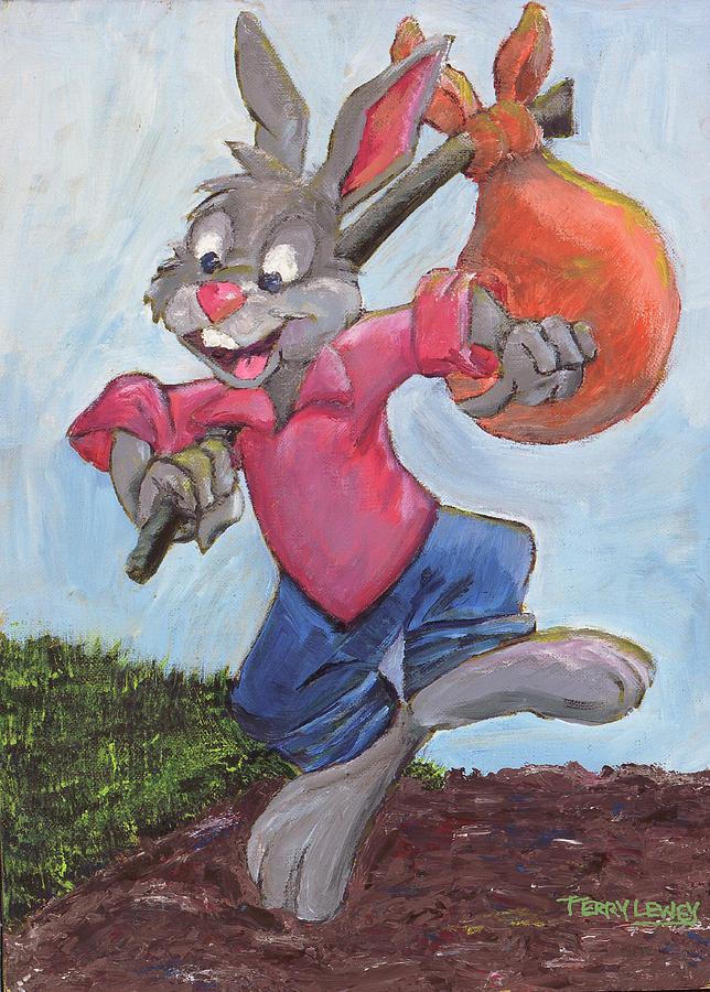 Rabbit Painting - Traveling Rabbit by Terry Lewey