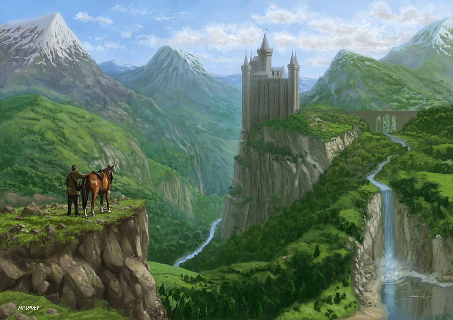Landscape Painting Traveller In With Distant Castle By