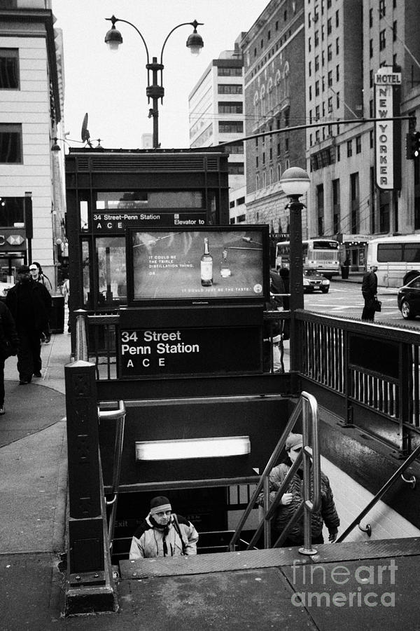Usa Photograph - Travellers Exiting 34th Street Entrance To Penn Station Subway New York City by Joe Fox