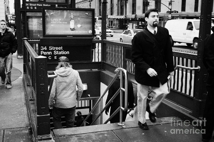 Usa Photograph - Travellers Exiting And Entering 34th Street Entrance To Penn Station Subway New York City by Joe Fox