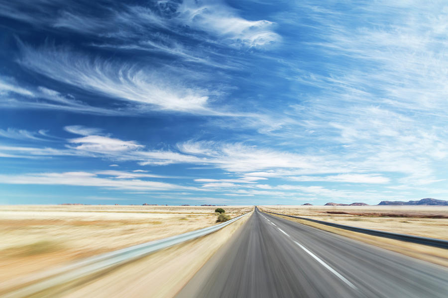 Travelling At Speed On Open Road Photograph by Jeremy Woodhouse