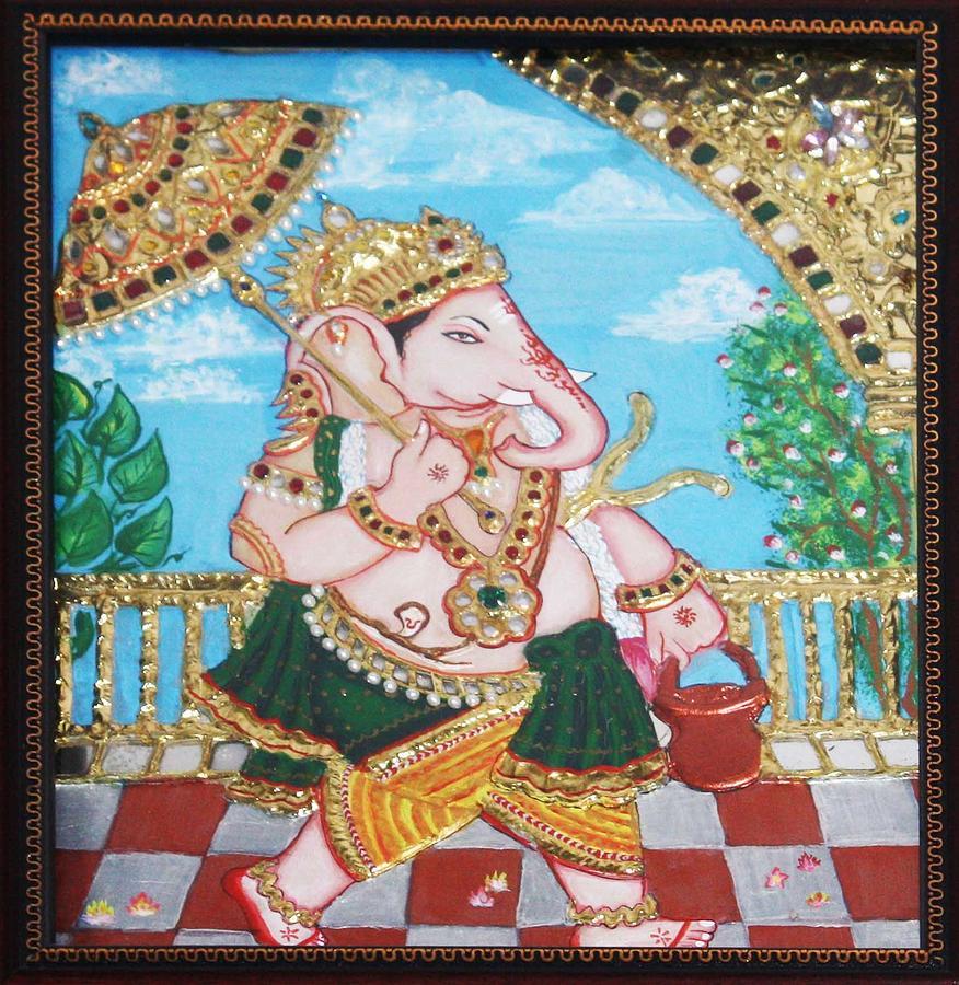 Tanjore Painting - Travelling Ganesh by Jayashree