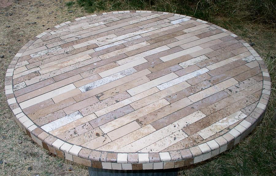 Tile Ceramic Art - Travertine Table Top by Patrick Trotter