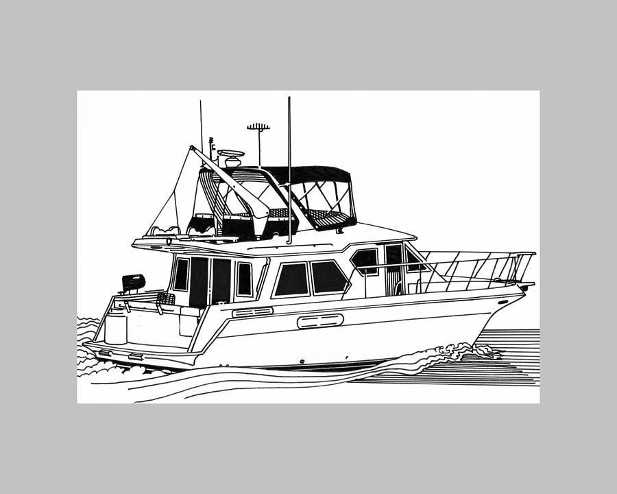 Yachts Drawing - Trawler Yacht by Jack Pumphrey