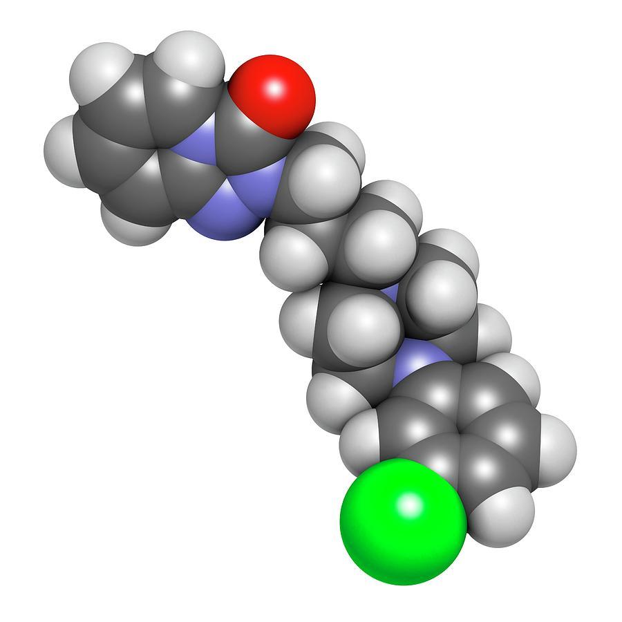 Artwork Photograph - Trazodone Antidepressant Drug Molecule by Molekuul