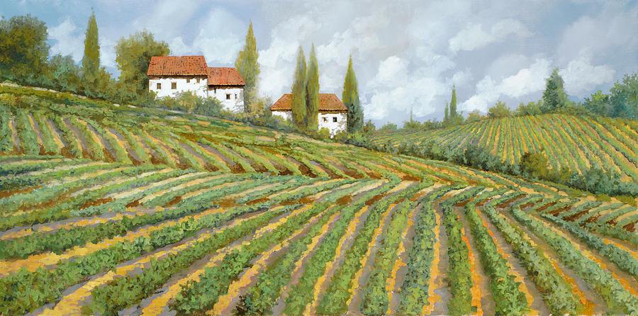 Vineyard Painting - Tre Case Bianche Nella Vigna by Guido Borelli