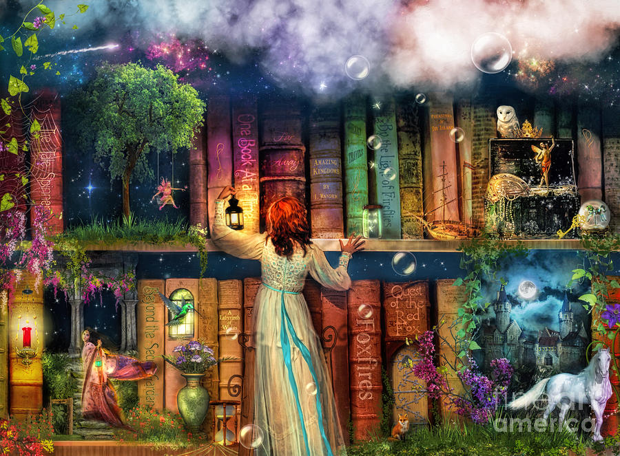 Fairytale Digital Art - Fairytale Treasure Hunt Book Shelf Variant 2 by MGL Meiklejohn Graphics Licensing
