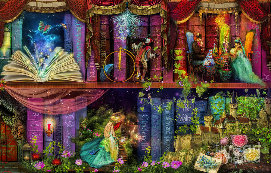 Fairytake Treasure Hunt Book Shelf Variant 4 Digital Art By Aimee