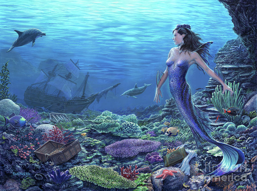 Mermaid Painting - Treasure of the Sea by Stu Shepherd